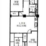 みゆきパークマンションB棟。専有面積69.32㎡。3LDKの間取りです。(間取)