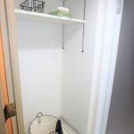 三篠公園パークホームズ 室内洗濯機置場は上部に棚付き