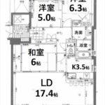 (賃貸)ヴェルパーク大手町アライブ 専有面積83.44㎡。3LDK+WICの間取りです。