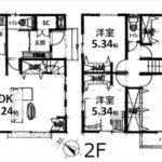 東区牛田中2丁目新築 建物面積104.33㎡。4LDKの間取りです。