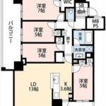 シティタワー広島 専有面積86.18㎡。4LDK+WICの間取りです。