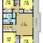 戸坂第2CO-OPマンション 専有面積80.87㎡。4LDKの間取りです。