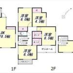 南区向洋大原町新築 建物面積113.86㎡。4LDK+小屋裏収納+サンルームの間取りです。