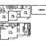 安芸郡府中町本町3丁目新築 建物面積106.10㎡。4LDKの間取りです。