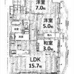 クレアコート牛田本町 専有面積73.60㎡。3LDKの間取りです。(間取)