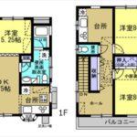 中区吉島東1丁目中古 建物面積97.14㎡。3LDKK+小屋裏収納の間取りです。