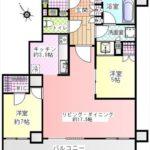 hitoto広島The Tower 専有面積74.28㎡。2LDK+WICの間取りです。(間取)