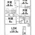ヴィラージュ海田[緑彩の街]東棟 専有面積101.03㎡。4LDKの間取りです。