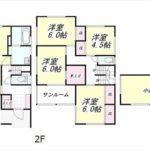 南区向洋大原町新築 建物面積113.03㎡。4LDK+小屋裏収納+サンルームの間取りです。