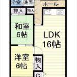 サンピア牛田C棟 専有面積64.09㎡。2LDKの間取りです。