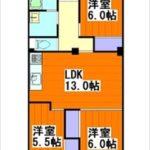 みゆきパークマンションB棟 専有面積72.00㎡。3LDKの間取りです。(間取)