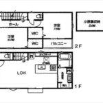 安芸郡府中町本町3丁目新築 建物面積101.18㎡。4LDKの間取りです。
