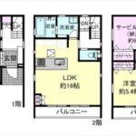 東区矢賀新町2丁目新築 建物面積119.22㎡。3LDK+納戸+WICの間取りです。