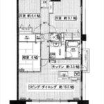 Jcity宇品西ベイタウン 専有面積90.20㎡。3LDKの間取りです。