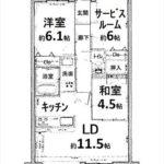 ラルステージ仁保新町公園 専有面積65.87㎡。2SLDKの間取りです。(間取)