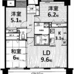 ダイアパレス戸坂新町 専有面積65.17㎡。3LDKの間取りです。