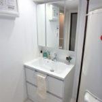 みゆきパークマンションB棟 新設:三面鏡付き洗面化粧台
