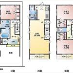 東区牛田南2丁目新築 建物面積102.09㎡。2LDK+納戸+2WICの間取りです。