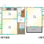 東区福田3丁目中古 建物面積88.59㎡。4DKの間取です。