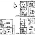 中区吉島新町1丁目新築 建物面積102.25㎡。4LDKの間取りです。(間取)