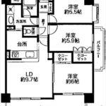 横川公園パークマンション 専有面積67.30㎡。3LDKの間取りです。