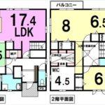 呉市焼山宮ヶ迫2丁目中古 建物面積130.83㎡。3LDK+WIC+小屋裏収納の間取りです。